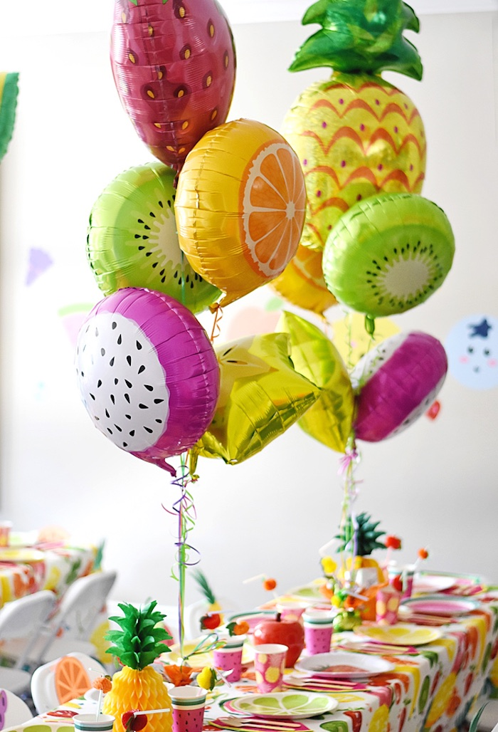 Fruit balloons from a Colorful Tutti Frutti Birthday Party on Kara's Party Ideas | KarasPartyIdeas.com (37)