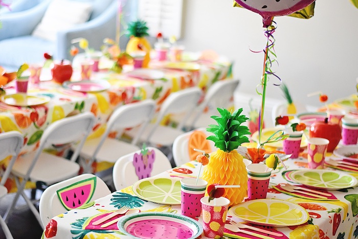 Guest table decor from a Colorful Tutti Frutti Birthday Party on Kara's Party Ideas | KarasPartyIdeas.com (35)