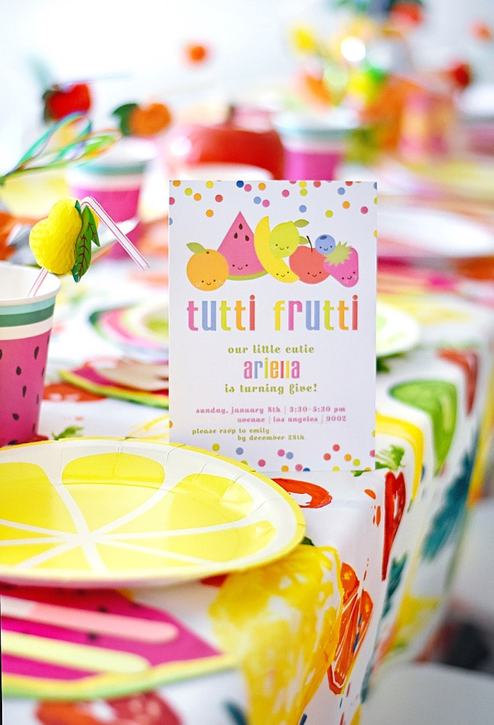 Tutti Frutti Party Invite from a Colorful Tutti Frutti Birthday Party on Kara's Party Ideas | KarasPartyIdeas.com (34)
