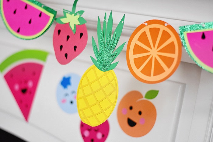 Fruit banner from a Colorful Tutti Frutti Birthday Party on Kara's Party Ideas | KarasPartyIdeas.com (31)