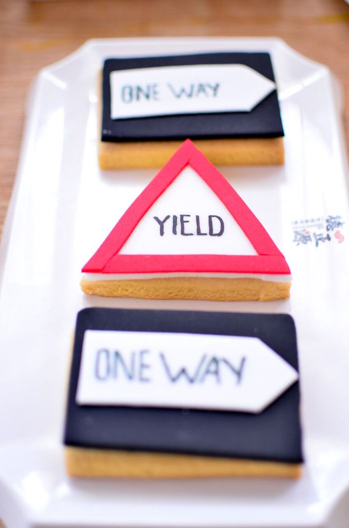 Construction sign cookies from a Construction Birthday Party on Kara's Party Ideas | KarasPartyIdeas.com (25)