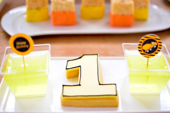 "Jello cups and ""1"" cookie from a Construction Birthday Party on Kara's Party Ideas 