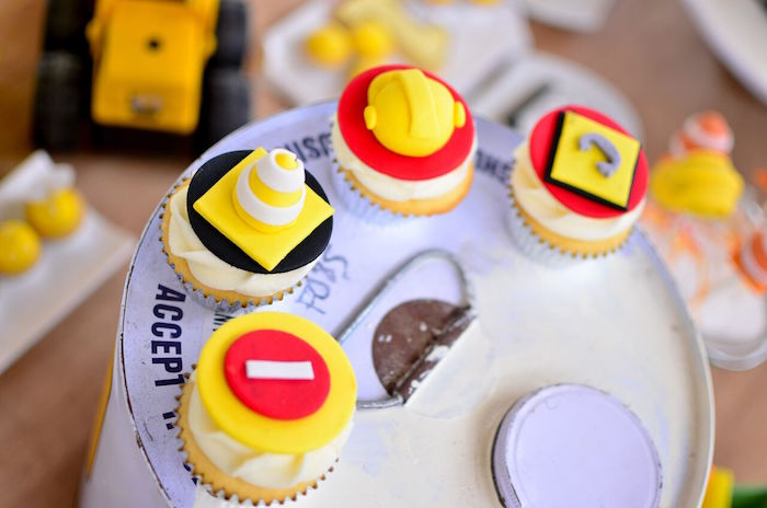 Construction cupcakes from a Rough and Tumble Construction Birthday Party on Kara's Party Ideas | KarasPartyIdeas.com (19)