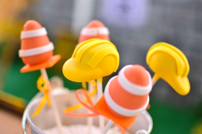 Construction cake pops from a Rough and Tumble Construction Birthday Party on Kara's Party Ideas | KarasPartyIdeas.com (18)