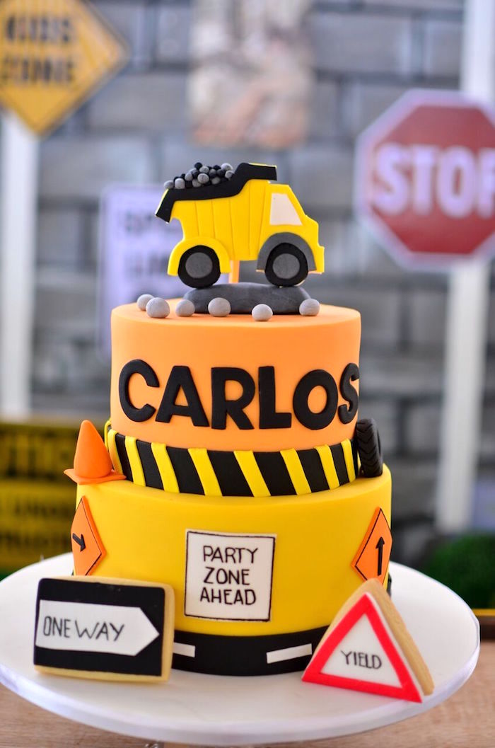 Construction cake from a Rough and Tumble Construction Birthday Party on Kara's Party Ideas | KarasPartyIdeas.com (17)