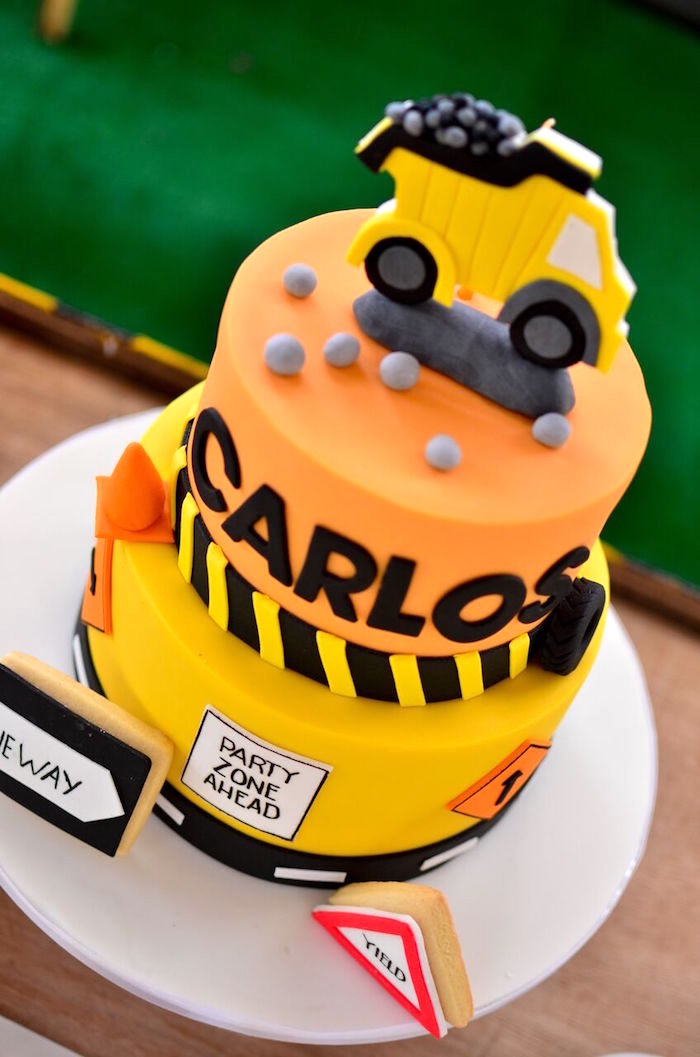 Construction cake top from a Rough and Tumble Construction Birthday Party on Kara's Party Ideas | KarasPartyIdeas.com (16)