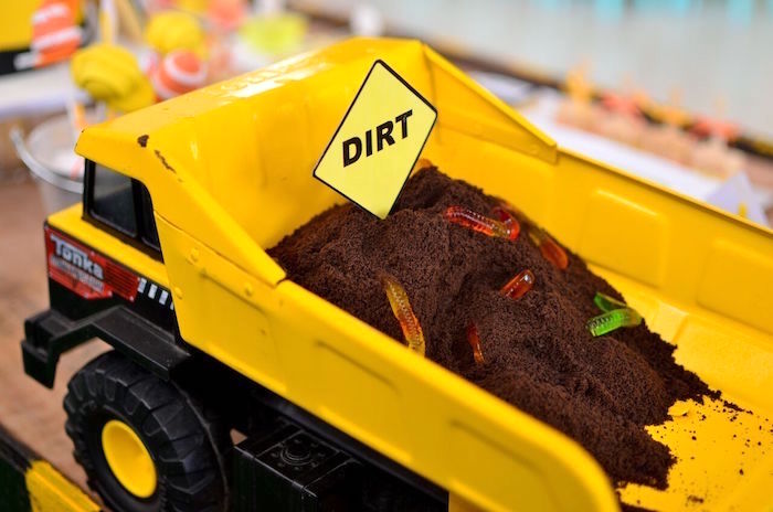 Oreo dirt filled with gummy worms from a Rough and Tumble Construction Birthday Party on Kara's Party Ideas | KarasPartyIdeas.com (14)