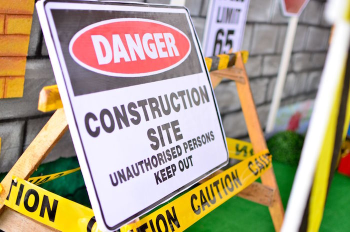 DANGER sign from a Construction Birthday Party on Kara's Party Ideas | KarasPartyIdeas.com (7)
