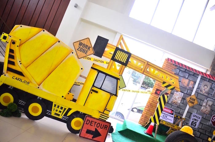 Construction vehicle + work zone from a Construction Birthday Party on Kara's Party Ideas | KarasPartyIdeas.com (38)