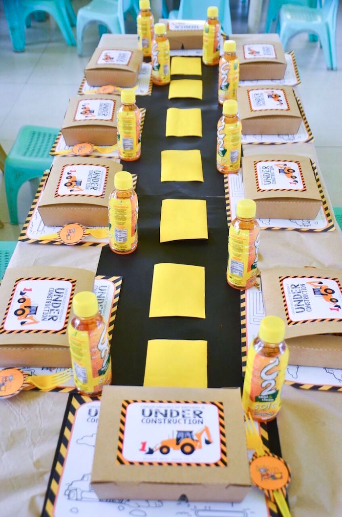 Kid table from a Construction Birthday Party on Kara's Party Ideas | KarasPartyIdeas.com (37)