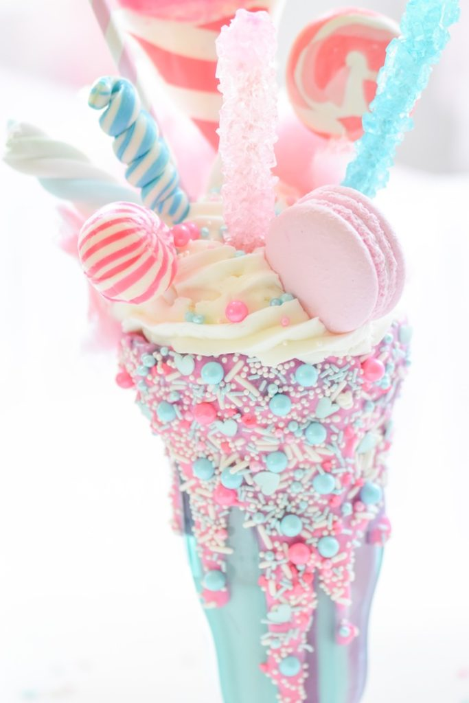 Cotton Candy Freak Shake milk shake recipe | idea by Kara's Party Ideas. Ice cream party supplies from Michaels.