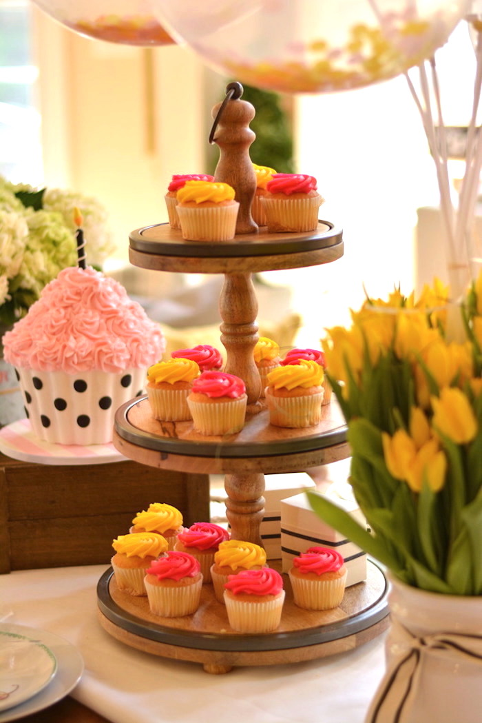 Pedestal of cupcakes from a Cupcake Wars Birthday Party on Kara's Party Ideas | KarasPartyIdeas.com (19)