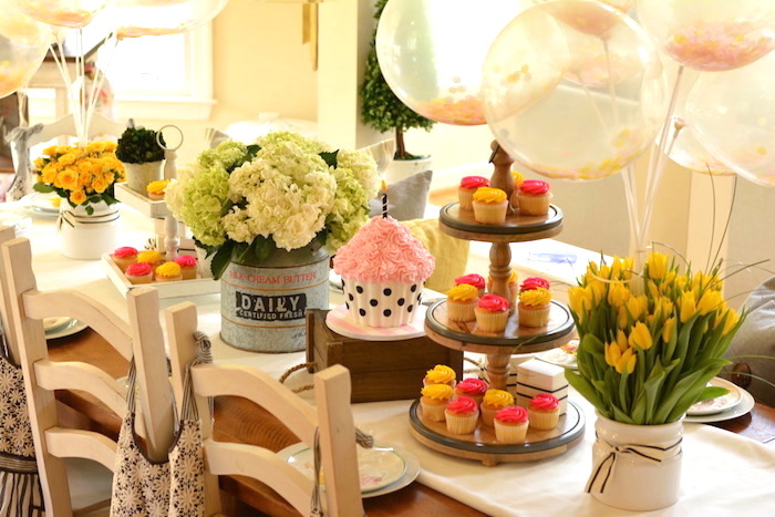 Guest table decor from a Cupcake Wars Birthday Party on Kara's Party Ideas | KarasPartyIdeas.com (28)