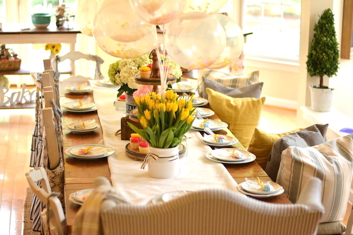 Guest table from a Cupcake Wars Birthday Party on Kara's Party Ideas | KarasPartyIdeas.com (26)