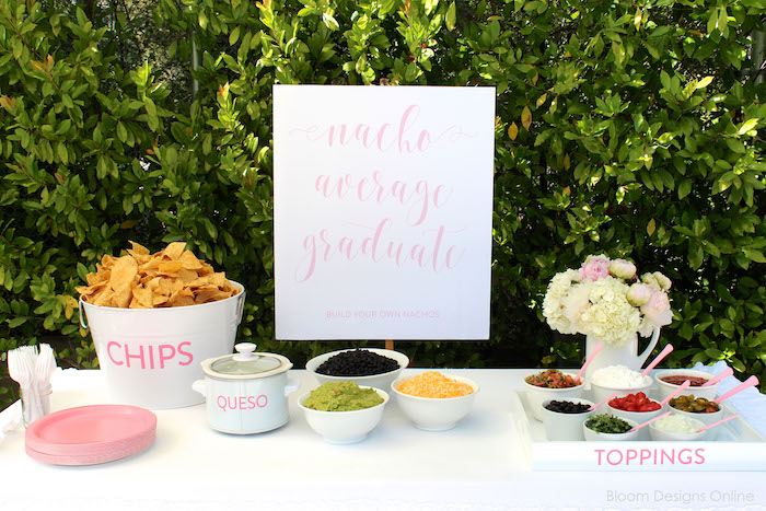 Nacho bar from a Donut Forget About Me Graduation Party on Kara's Party Ideas | KarasPartyIdeas.com (15)