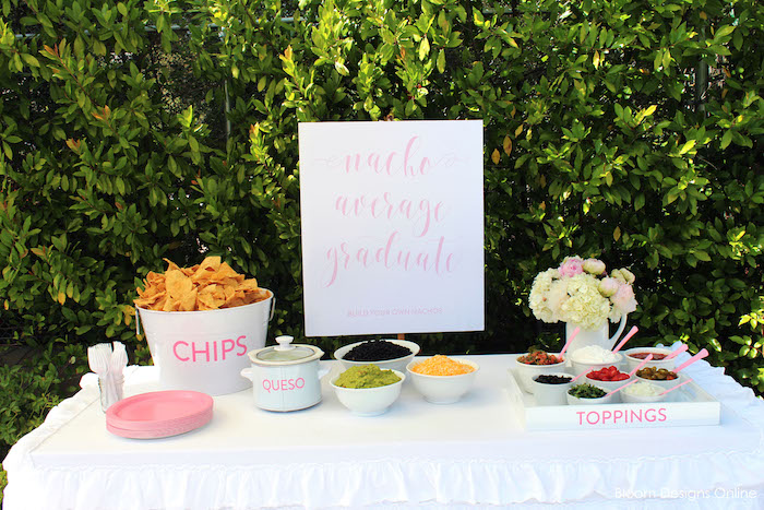 """Nacho Average Graduate"" nacho bar from a Donut Forget About Me Graduation Party on Kara's Party Ideas 
