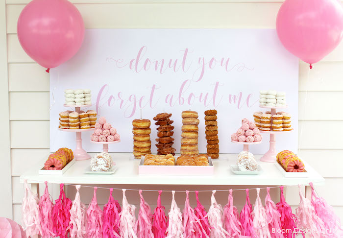 """Donut Forget About Me"" donut dessert table from a Donut Forget About Me Graduation Party on Kara's Party Ideas 