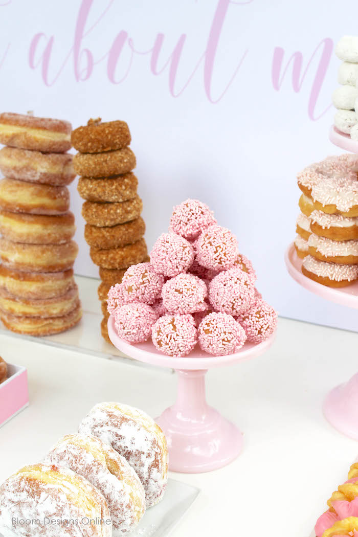 Pink sprinkled donut holes from a Donut Forget About Me Graduation Party on Kara's Party Ideas | KarasPartyIdeas.com (23)
