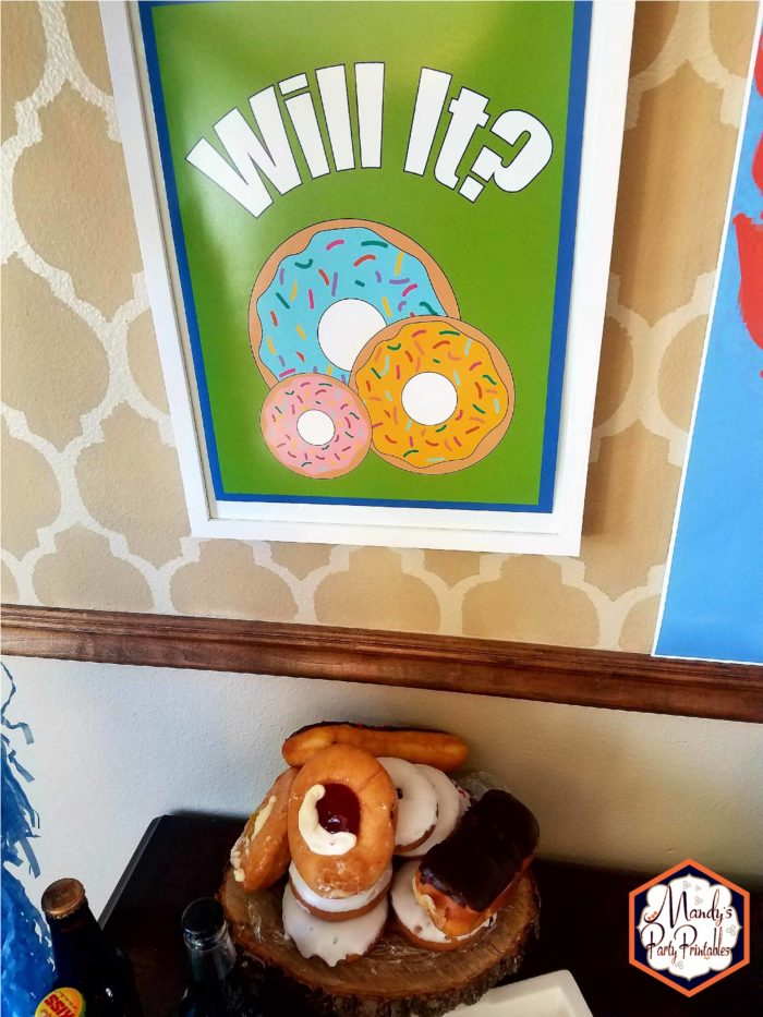 Doughnut Sign from Good Mythical Morning Inspired Birthday Party via Mandy's Party Printables via Kara's Party Ideas