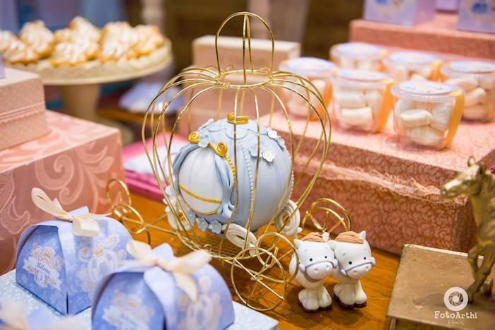Mini carriage cake from a Dreamy Cinderella Birthday Party on Kara's Party Ideas | KarasPartyIdeas.com (15)