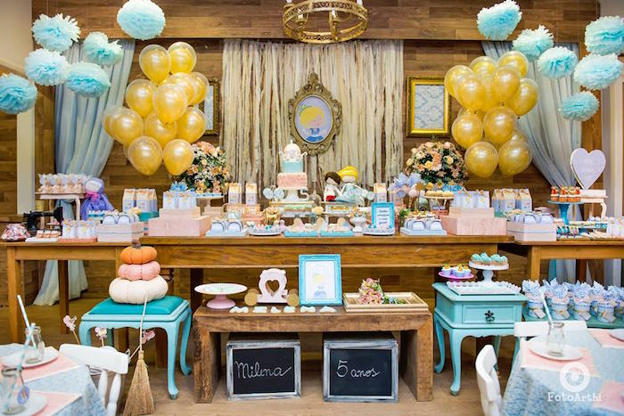 Head table from a Dreamy Cinderella Birthday Party on Kara's Party Ideas | KarasPartyIdeas.com (20)