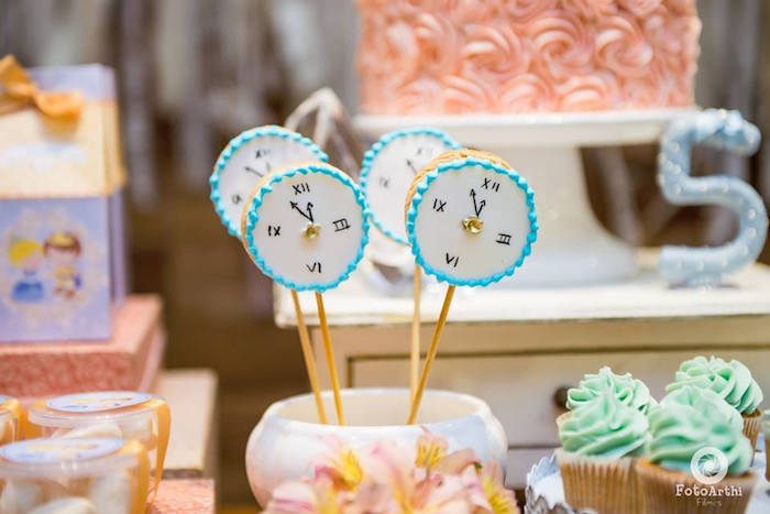 Clock cookie pops from a Dreamy Cinderella Birthday Party on Kara's Party Ideas | KarasPartyIdeas.com (19)