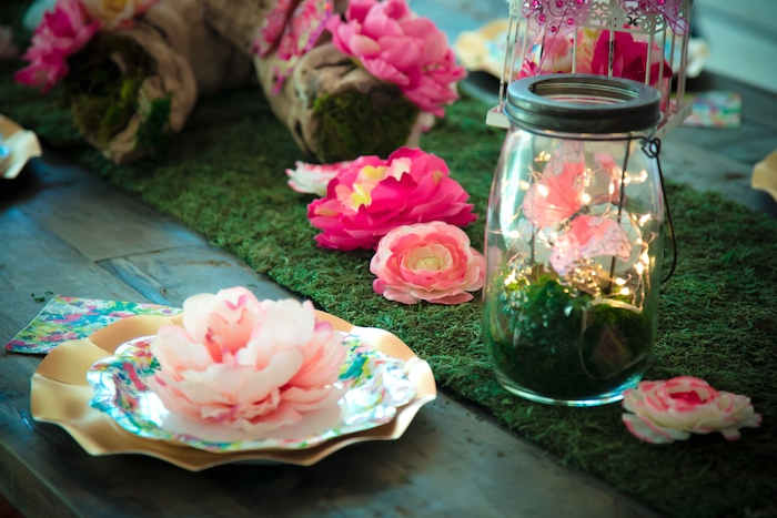 Place setting from a Dreamy Midsummer Night Birthday Party on Kara's Party Ideas | KarasPartyIdeas.com (6)