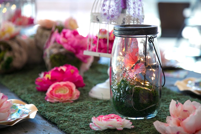 Mason jar light from a Dreamy Midsummer Night Birthday Party on Kara's Party Ideas | KarasPartyIdeas.com (16)
