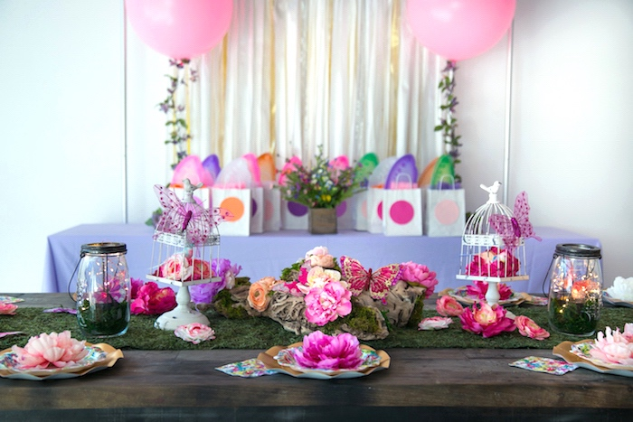 Guest table from a Dreamy Midsummer Night Birthday Party on Kara's Party Ideas | KarasPartyIdeas.com (10)
