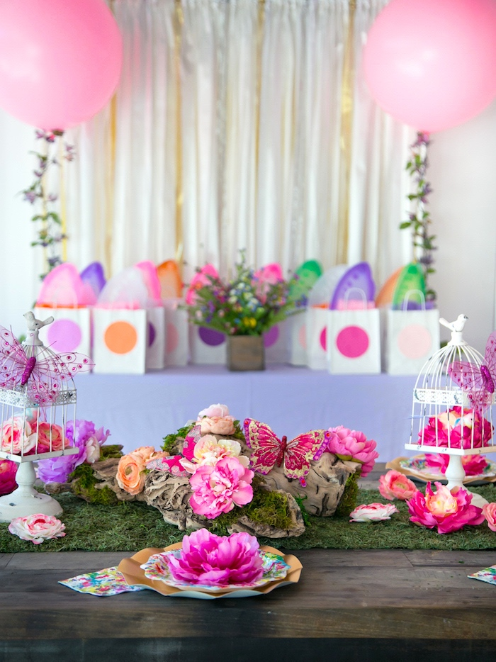 Party tables from a Dreamy Midsummer Night Birthday Party on Kara's Party Ideas | KarasPartyIdeas.com (9)
