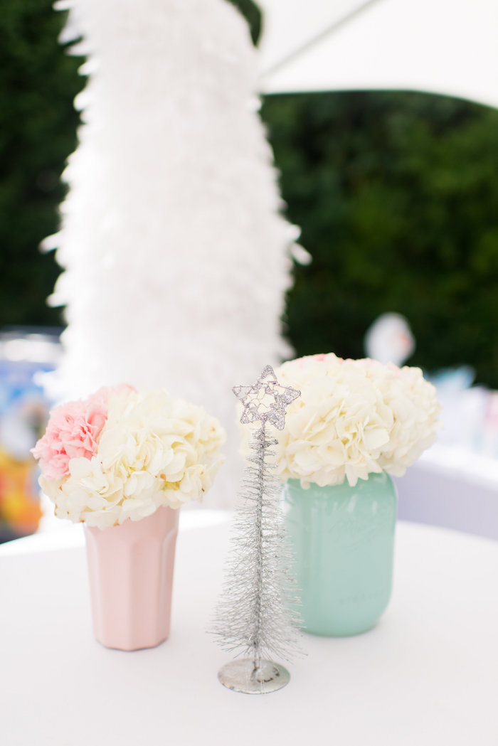 Guest table centerpieces from an Elegant Frozen Birthday Party on Kara's Party Ideas | KarasPartyIdeas.com (41)