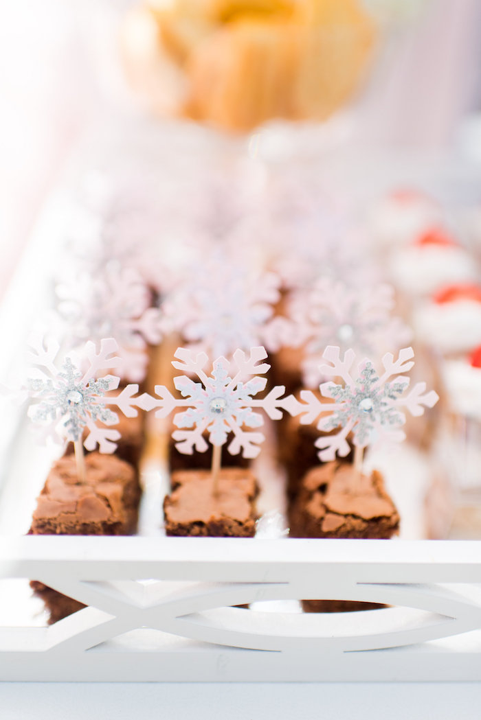 Brownies from an Elegant Frozen Birthday Party on Kara's Party Ideas | KarasPartyIdeas.com (34)