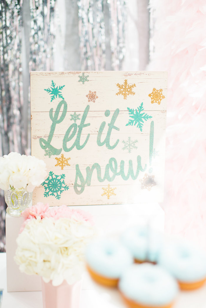 Let it Snow sign from an Elegant Frozen Birthday Party on Kara's Party Ideas | KarasPartyIdeas.com (31)