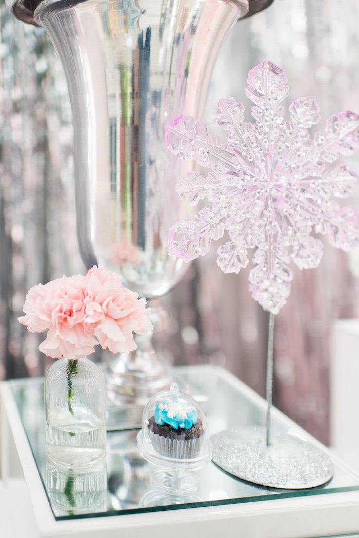 Snowflake centerpiece from an Elegant Frozen Birthday Party on Kara's Party Ideas | KarasPartyIdeas.com (27)