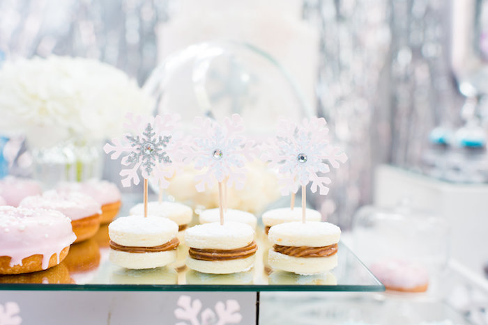 Macarons with snowflake toppers from an Elegant Frozen Birthday Party on Kara's Party Ideas | KarasPartyIdeas.com (19)