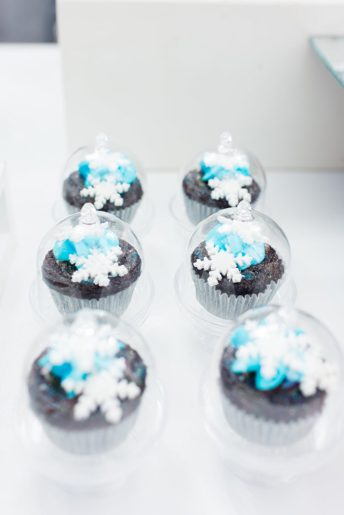 Snowflake cupcakes from an Elegant Frozen Birthday Party on Kara's Party Ideas | KarasPartyIdeas.com (17)