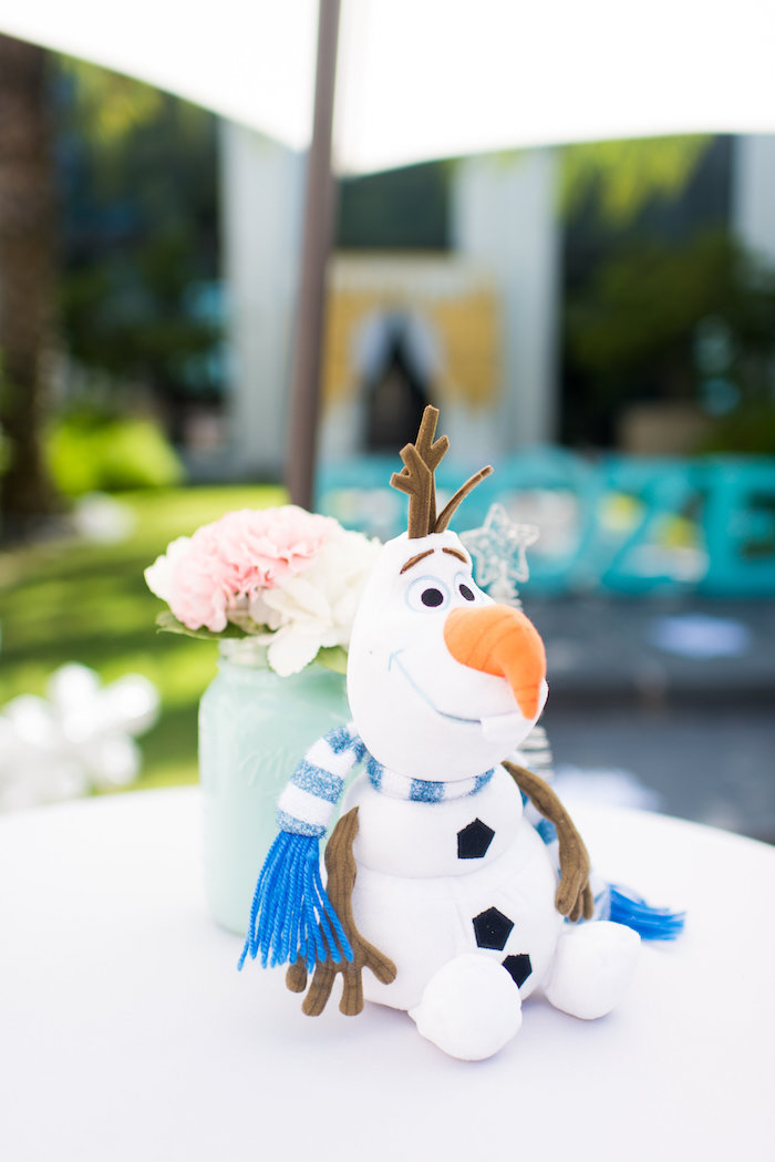 Olaf centerpiece from an Elegant Frozen Birthday Party on Kara's Party Ideas | KarasPartyIdeas.com (48)