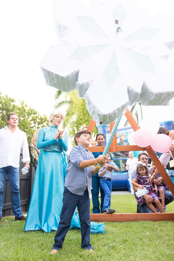 Snowflake pinata from an Elegant Frozen Birthday Party on Kara's Party Ideas | KarasPartyIdeas.com (10)