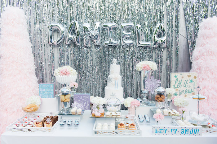 Dessert tablescape from an Elegant Frozen Birthday Party on Kara's Party Ideas | KarasPartyIdeas.com (7)