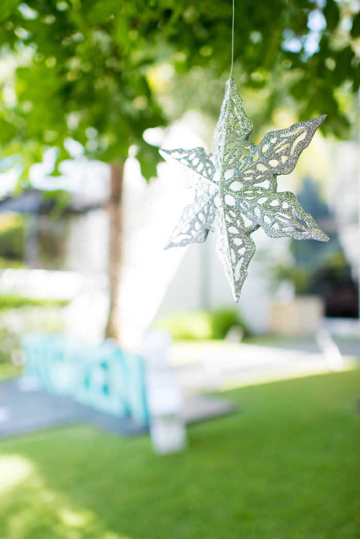 Hanging snowflake from an Elegant Frozen Birthday Party on Kara's Party Ideas | KarasPartyIdeas.com (43)