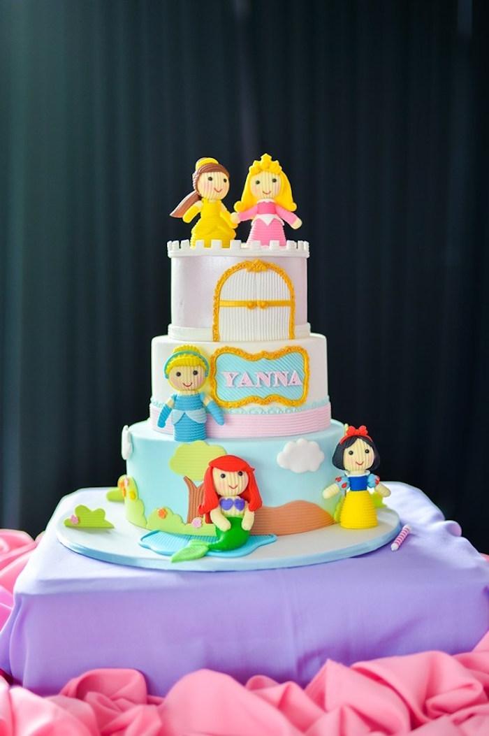 Cake from a Fairytale Princess Birthday Party on Kara's Party Ideas | KarasPartyIdeas.com (24)