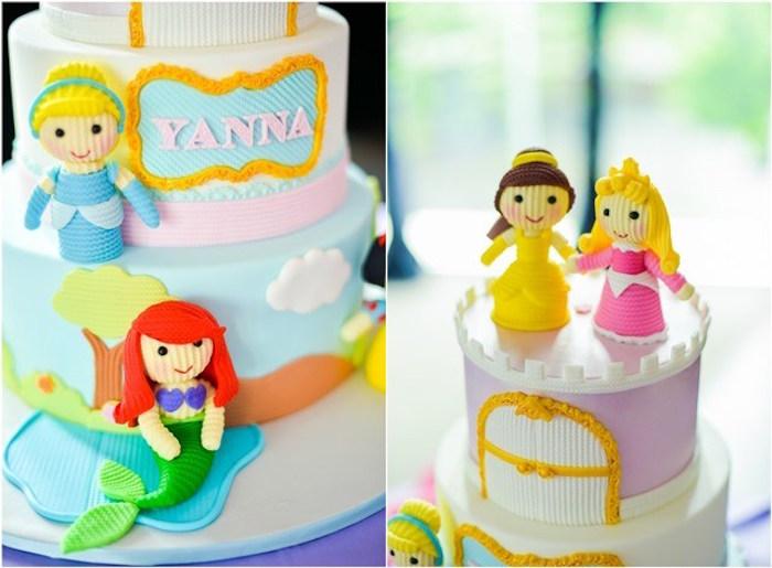 Cake detail from a Fairytale Princess Birthday Party on Kara's Party Ideas | KarasPartyIdeas.com (5)