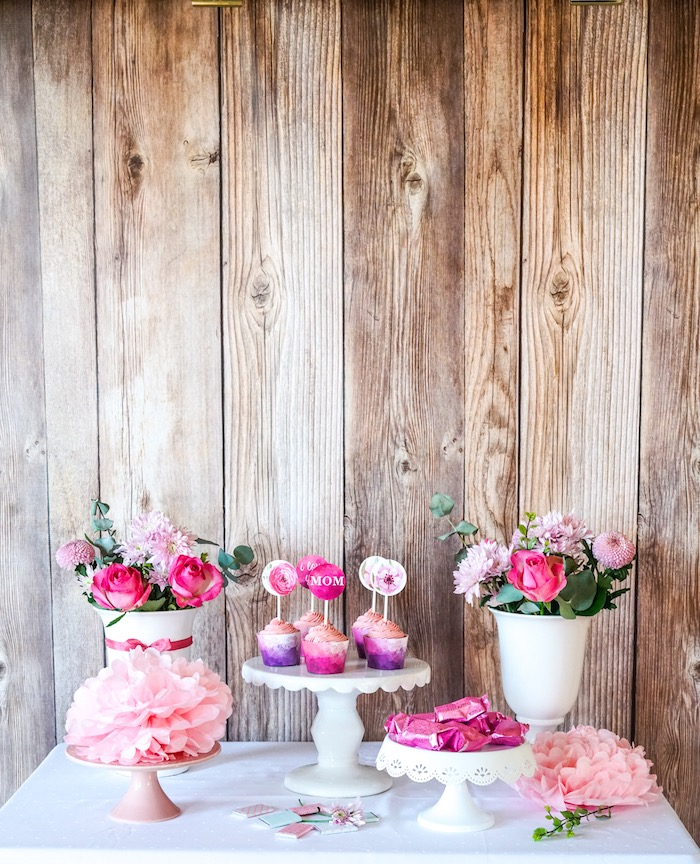 Dessert table from a Floral Mother's Day Party with Free Printables on Kara's Party Ideas | KarasPartyIdeas.com (10)