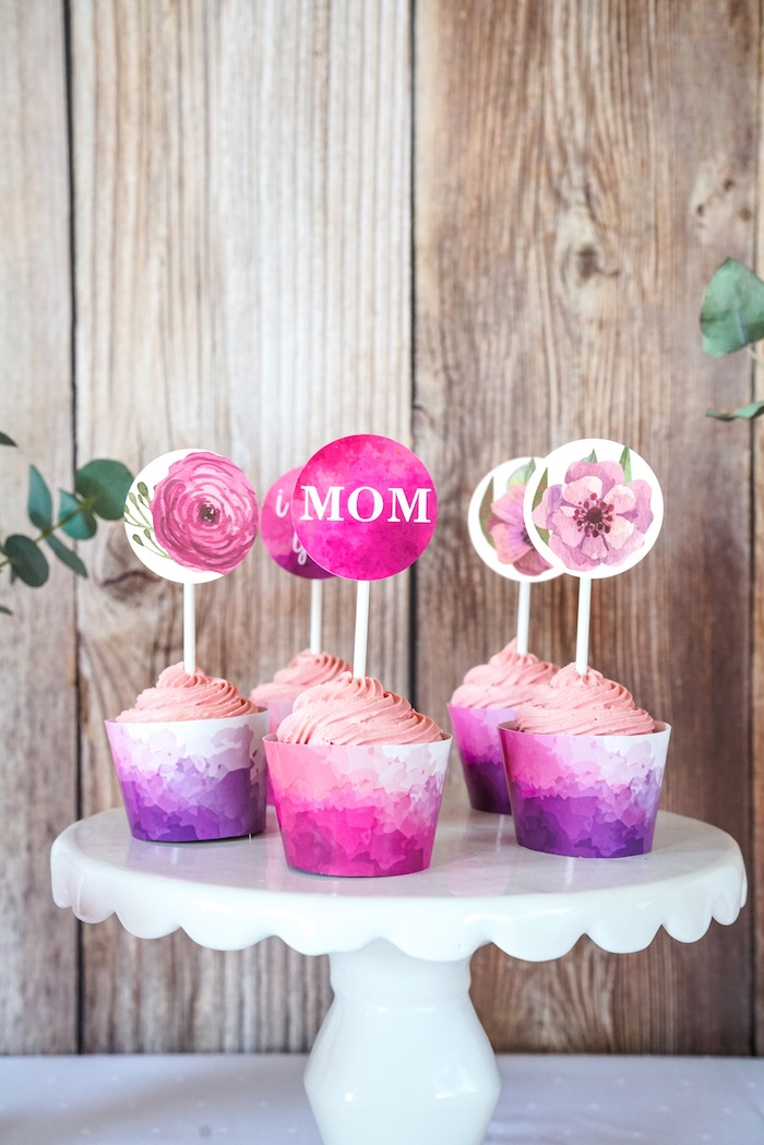 Cupcakes from a Floral Mother's Day Party with Free Printables on Kara's Party Ideas | KarasPartyIdeas.com (9)
