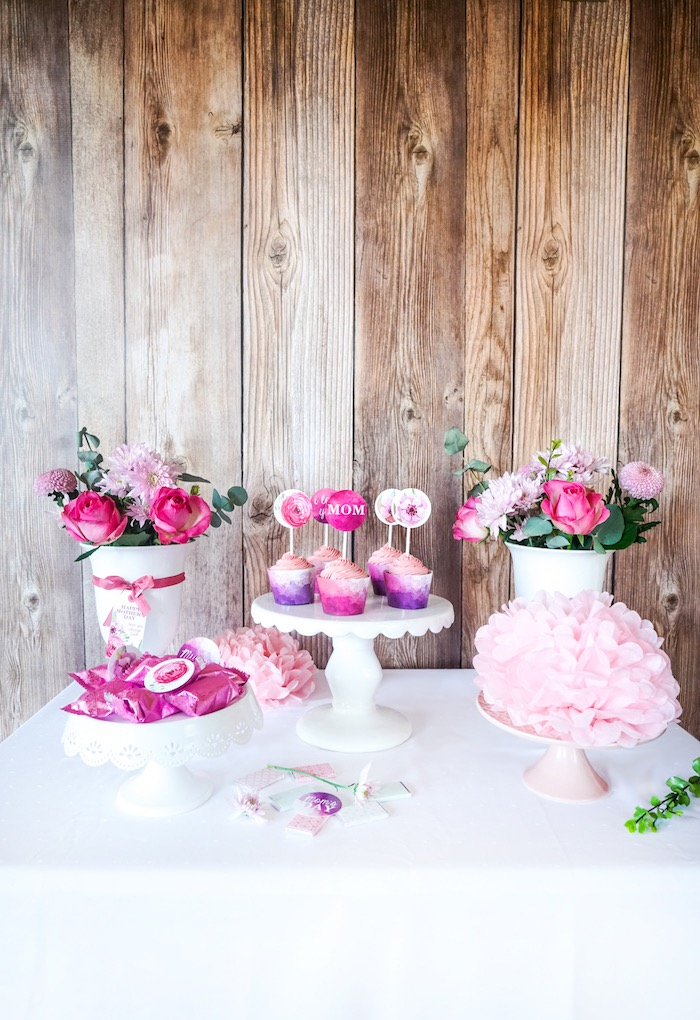 Dessert table from a Floral Mother's Day Party with Free Printables on Kara's Party Ideas | KarasPartyIdeas.com (4)