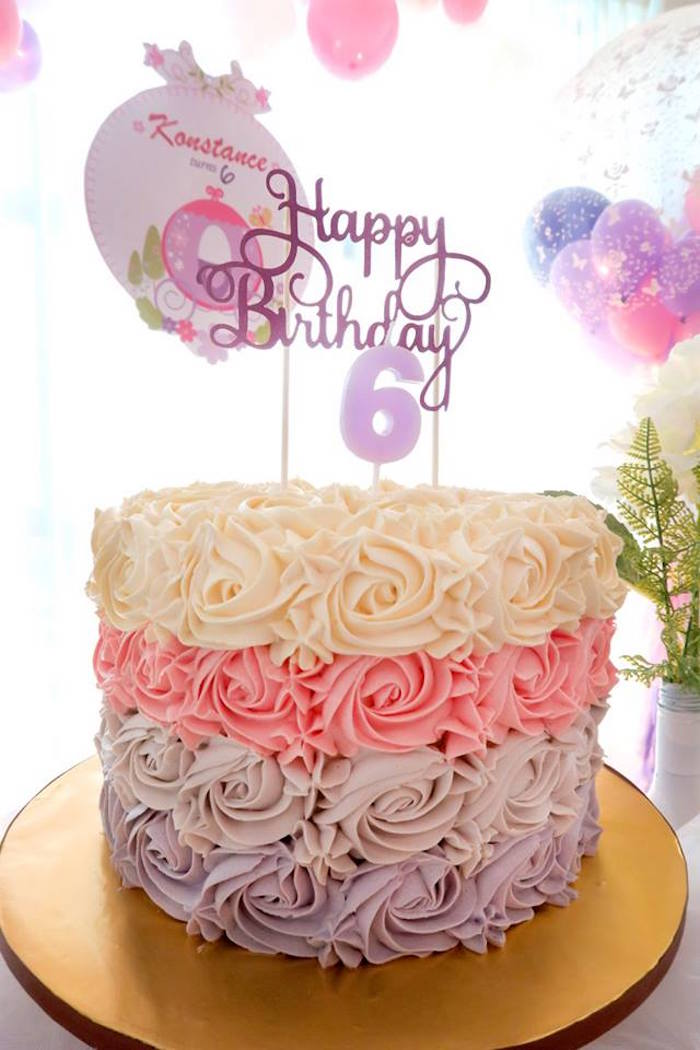 Girly rosette cake from a Floral Sofia The First Birthday Party on Kara's Party Ideas | KarasPartyIdeas.com (13)