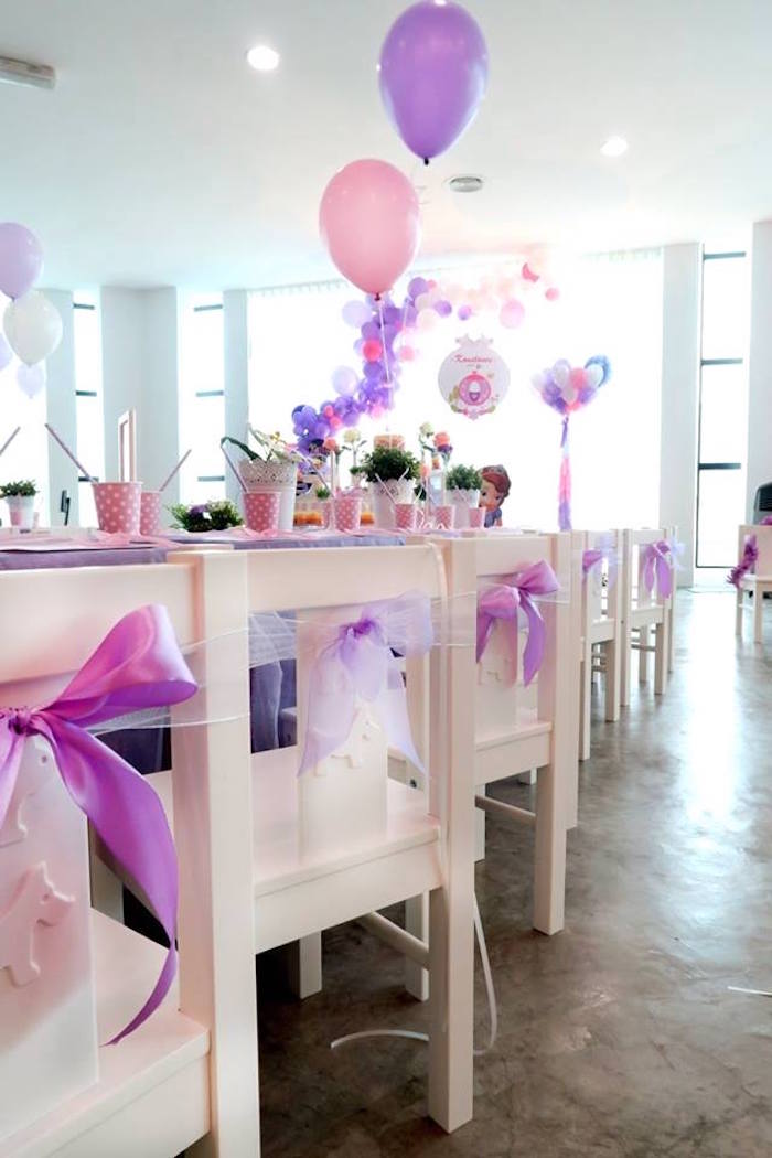 Table chairs from a Floral Sofia The First Birthday Party on Kara's Party Ideas | KarasPartyIdeas.com (11)