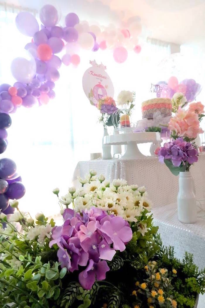 Bunting + decor from a Floral Sofia The First Birthday Party on Kara's Party Ideas | KarasPartyIdeas.com (10)
