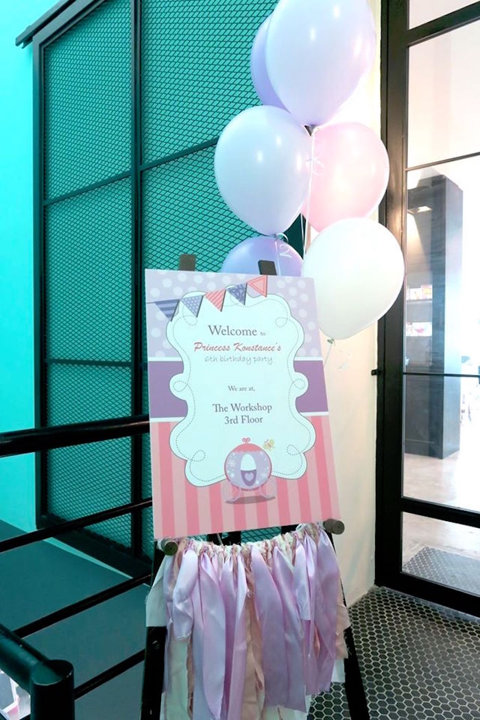 Welcome Sign from a Floral Sofia The First Birthday Party on Kara's Party Ideas | KarasPartyIdeas.com (9)