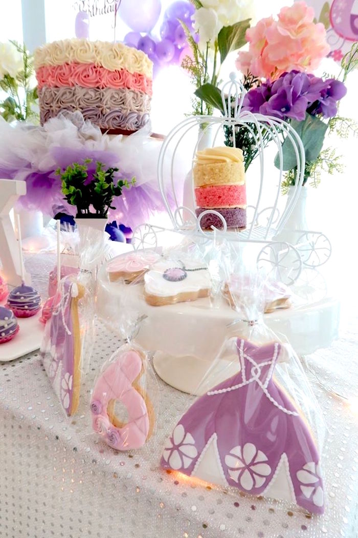 Cookies and cakes from a Floral Sofia The First Birthday Party on Kara's Party Ideas | KarasPartyIdeas.com (8)